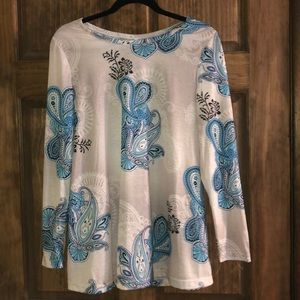 Tops - Grey with blue paisley tunic NWOT